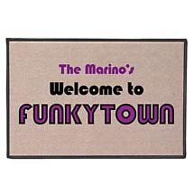Personalized Welcome To Funkytown Doormat