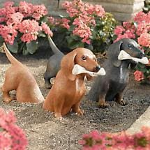 2-PIECE DACHSHUND GARDEN SCULPTURE (SET INCLUDES FRONT & REAR)