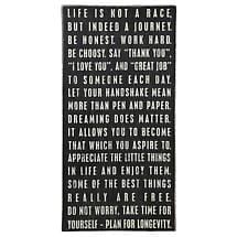 LIFE IS NOT A RACE BOX SIGN