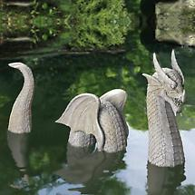 3-PIECE WINGED DRAGON GARDEN SCULPTURE
