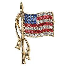CRYSTAL USA FLAG BROOCH