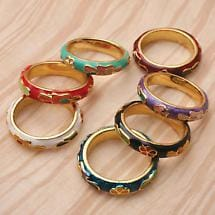 CLOISONNE RINGS (SET OF 7)
