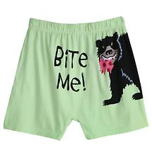 BITE ME BOXER SHORTS (GREEN WITH BEAR)