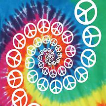SPIRAL PEACE SIGNS TIE-DYE T-SHIRT