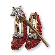 RED SHOES WITH WAND BROOCH