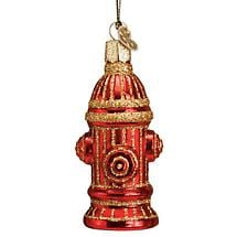 FIRE HYDRANT GLASS DOG ORNAMENT