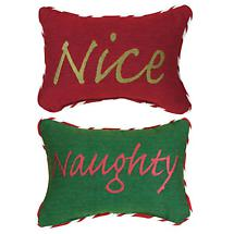 NAUGHTY OR NICE REVERSIBLE PILLOW