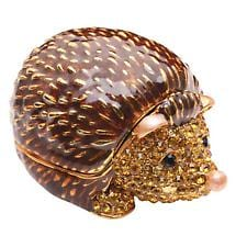 CRYSTAL-DETAILED ENAMEL BOX - HEDGEHOG