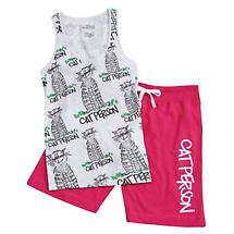 CAT PERSON TANK AND BERMUDA SHORTS SET