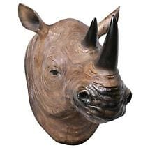 RHINO HEAD TURNING 3D WALL PLAQUE