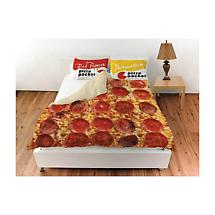 Pepperoni Pizza Queen Bedding Set with Red Pepper and Parmesan Packets Pillow Shams