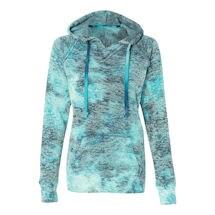 Tie Dye Bahama Blue Ladies Burnout Hooded Sweatshirts