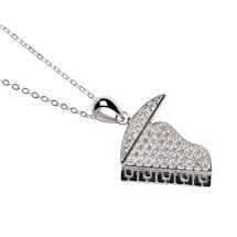 Rhinestone Encrusted Sterling Musical Piano Pendant