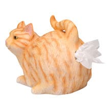 Cat Butt Tissue Holder - Orange Tabby Resin