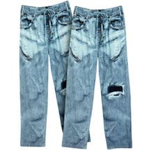 Faux Denim Ripped Jean Loungewear Pants - Set Of 2