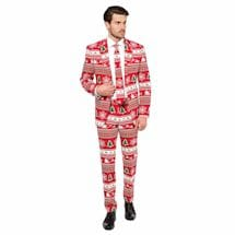 Winter Wonderland Printed Three Piece Suit - Red