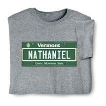 Personalized State License Plate Shirts - Vermont