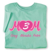 Personalized Mom's Maroon Heart Cursive Number of Kids T-Shirt - Mother's Day Gift