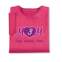 Personalized Mom's Pink Heart Cursive Number of Kids T-Shirt - Mother's Day Gift