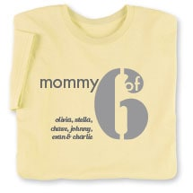 Personalized Mommy of 6 T-Shirt