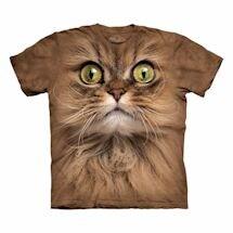 Big-Face Cat T-Shirts- Brown