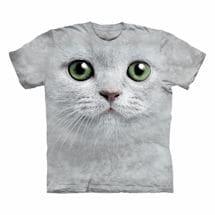 Big-Face Cat T-Shirts- White
