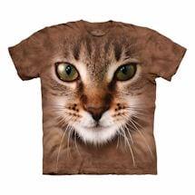 Big-Face Cat T-Shirts- Tan