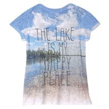 "Women's ""The Lake is My Happy Place"" Short Sleeve Burnout T-Shirt"
