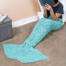 Mermaid Tail Knit Blankets - Aqua