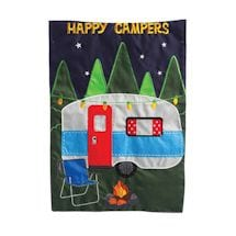 Happy Camper embroidered flag - garden size