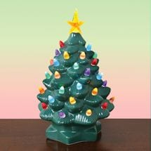 "Nostalgic Ceramic Lighted Christmas Tree - 10"" Tall"