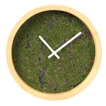 Green Grassy Wall Clock With Wooden Frame