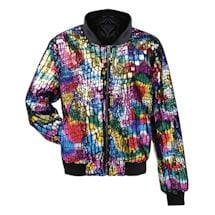 Colorful Rainbow Sequin Bomber Jacket