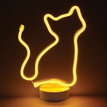 Led Light Yellow Cat Neon-Style Lamp