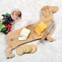 "Dachshund Shaped Cutting Board - Wooden Cheese Platter - 11.5"" x 21.5"""