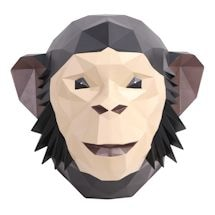 3-D Origami Animal Wall Art - Chimpanzee