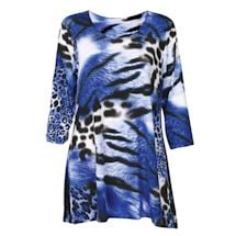 2-Pocket Animal Print Swing Tunic - Blue Tiger