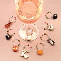 Cat Wine Glass Charms With Tree