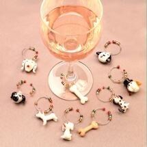 Dog Wine Glass Charms With Tree