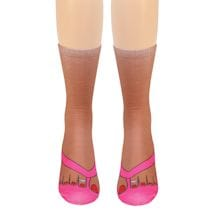 Flip Flops Tan Crew Socks - Pink