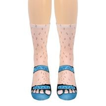 Flip Flops Tan Crew Socks - Blue