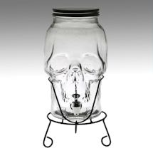 Skull Shaped Glass Beverage Dispenser - 5 Liter Capacity