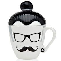 Hipster Manbun Man Lidded Mug