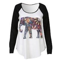 Floral Elephant Baseball-Style T-Shirt