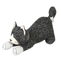 Stretching Cat Wool Fabric Door Stop