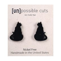 Wood Cut Animal Earrings - Cat Silhouette