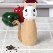 Wooden Cat Salt & Pepper Grinder