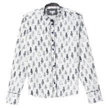 5fd32bd1 Women's Cat Print Oxford Top - Black & White Button Down