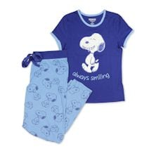 Peanuts Women's Snoopy Pajama Set - Matching Blue PJ Top and Lounge Pants