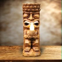 Solar Tiki God Flickering Flame Sculpture